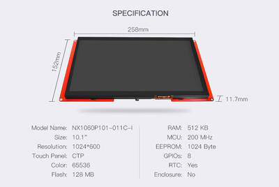 10.1 Inch Nextion HMI Display Kapasitif Ekran - Dokunmatik NX1060P101-011C-I